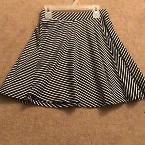 Black and white striped short skirt